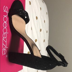 Black glitter heels